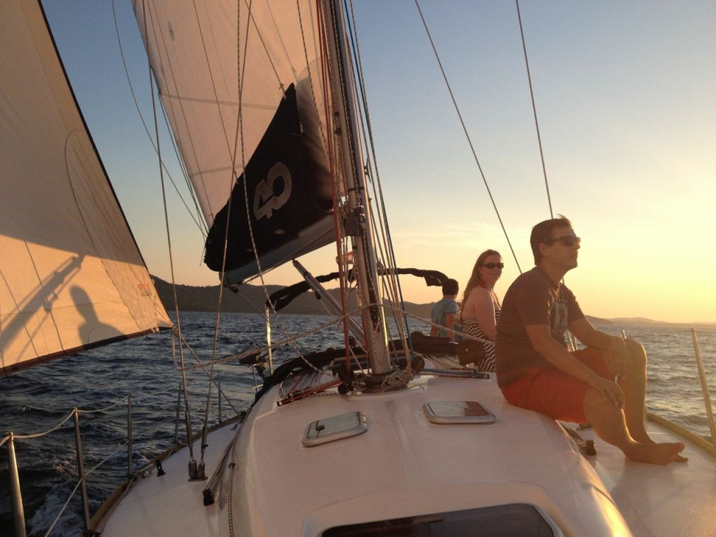 sailing into the sunset in Zadar