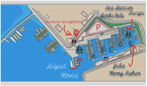 sailhunt marina zadar map